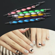 5pcs 2 way Nail Polish Art Dotting Marbleizing Pen Tools Fashion  Natural nails #L014152