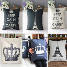 Brand New Cushions Popular King Linen Cotton Throw Pillow Cover Case Sofa Bed Home Decor Cushion Cover For a Gift DN665(China)