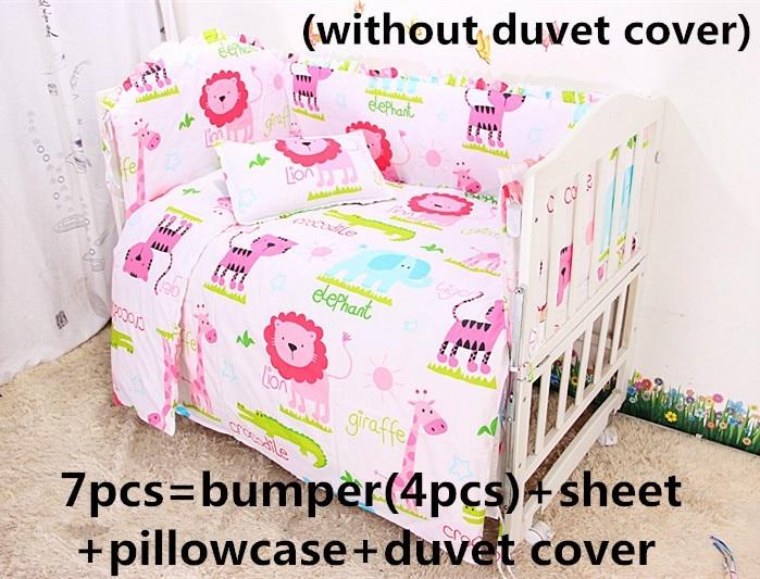 Discount! 6/7pcs Cotton Baby Bedding Set baby bedclothes Cot bed Sheet Cartoon crib bedding set ,120*60/120*70cm<br>