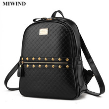 MIWIND 3 Colors Fake Leather Backpack Women Plaid Pattern Rivets Backpacks Female Travel Back Pack Students Casual School Bags
