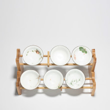 bamboo cup holder rack Single layer Cup holder Kung Fu Tea  Accessories hand made natural living room Crafts tea set decoration