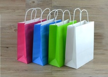 Joy Black kraft paper bag with paper twist rope handle,  gift paper bag  12*6*22cm Free Shipping