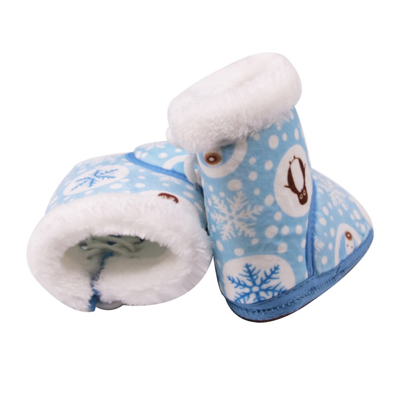 Baby Winter Boots Baby Girl Boots Soft Warm Snowflake Penguin Print Tube Baby Side Tie Cotton Shoes Lights & Lighting