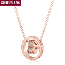 ZHOUYANG Hot Sell Heart Crystal Pendant Necklace Fashion Jewelry Rose Gold Color Jewelry For Women Girl ZYN607 ZYN608