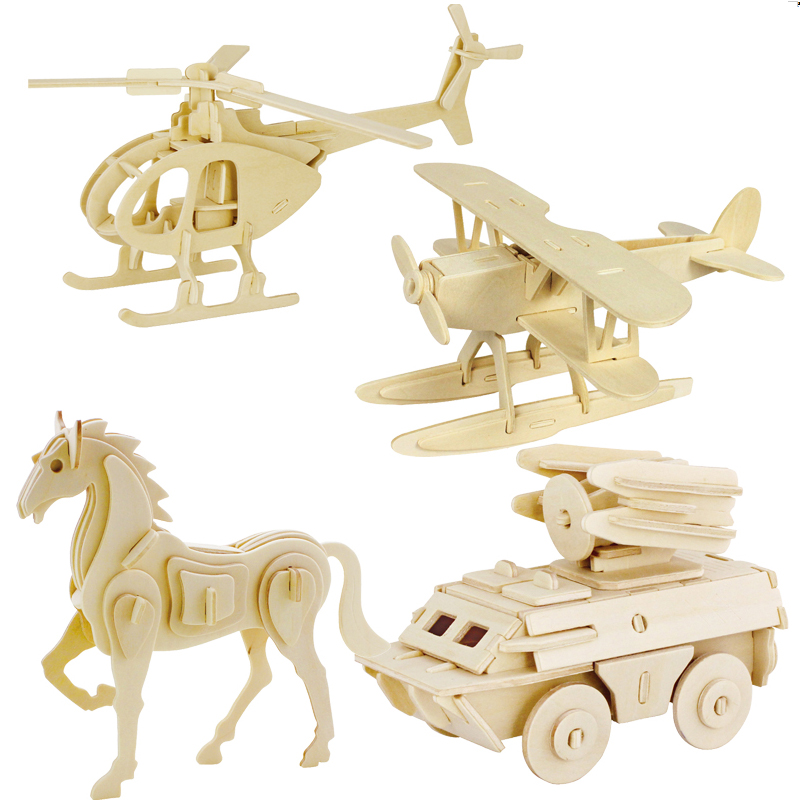 3d three-dimensional wooden animal jigsaw puzzle toys for children diy handmade wooden jigsaw puzzles Animals Insects Series(China)