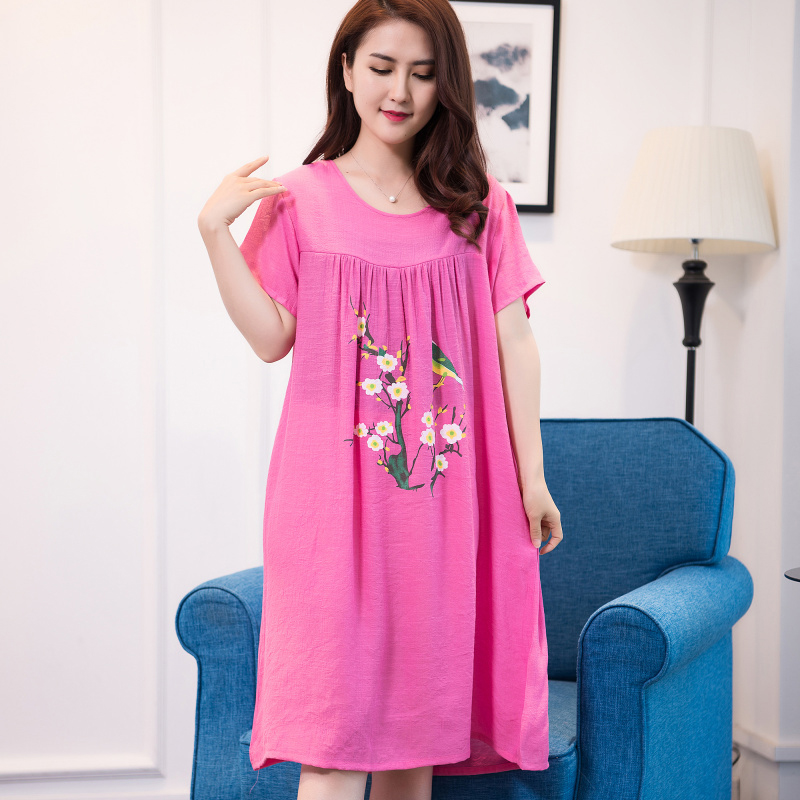 2019 Summer New Women Round Neck Sleepshirt Comfortable Short Sleeve Nightgown Loose Cotton Sleepshirts Sleepwear Plus Size