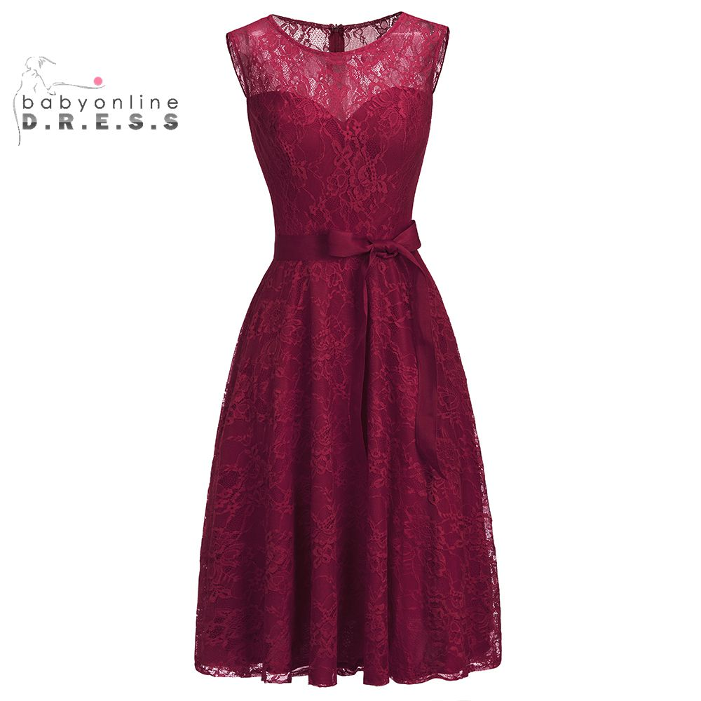 Babyonline Sleeveless Burgundy Short Lace Evening Dresses 2019 Plus Size Formal Plus Size Dresses With Sash Robe De Soiree