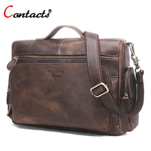 CONTACT'S Big Genuine Leather Bag Men Bag Male Handbag Men Shoulder Crossbody Bag Messenger Bag Men Leather Briefcase Business(China)