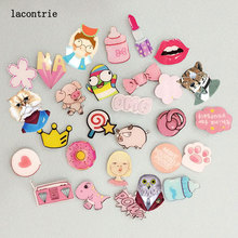 2 PCS Pink Color Series 1 Icons On backpack Free Shipping Acrylic Badges Cartoon Pin Badges For Clothes Decoration Badge