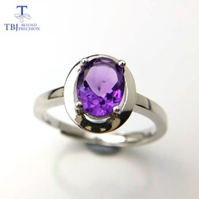 Tbj ,simple design ring with 100% natural african amethyst gemstone ring for women in 925 silver gemstone jewelry with gift box,