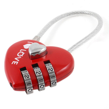 Bulk Price Red Number 0-9 Heart Shape 3 Digit Resettable Combination Lock(China)