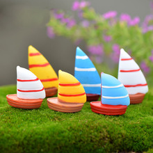 Sailboat Sea Boat Miniature Fairy Garden Home Houses Decoration Mini Craft Micro Landscaping Decor DIY Accessories(China)