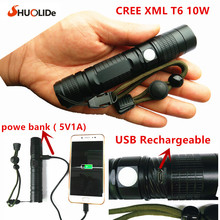 2017 New USB Rechargeable CREE xmlT6 LED torch mini Flashlight power bank flashlight LED glare Aluminum flashlight  led lamp