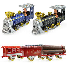 Alloy acoustic model steam train cartoon version children's kid car toys christmas new year gift collection of ornaments(China)