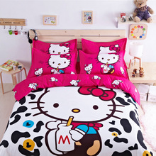 Home Textile Cartoon 4pcs Bedding Set Skin Cotton Hello Kitty Duvet Cover Bed Sheet Pillow Cases For Girl Lady Queen Size