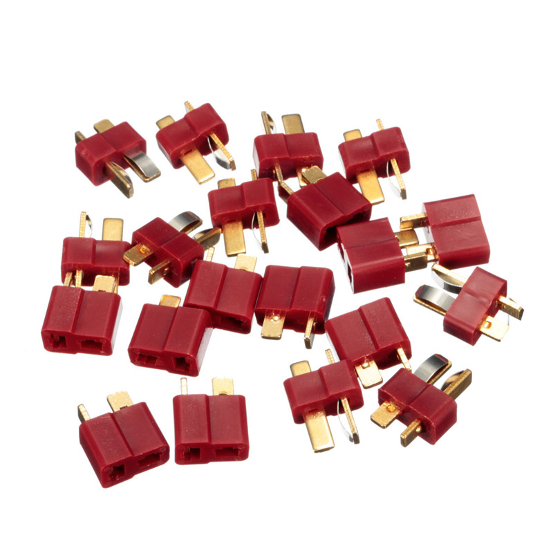 JIMITU 20PCS/10Pairs T Plug Deans Connectors For RC LiPo Battery Helicopter Male & Female Connector Assortment Kit(China)