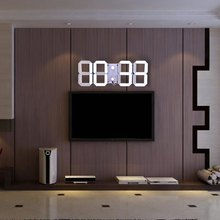 Hot Selling Large LED Digital Wall Clock Modern Design Remote Control Home Decor 3D Decoration Big Decorative Watch White Black(China)
