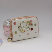 Genuine Dot wallet female purse money hello kitty bag High quality PU Cartoon short male clutch 4 types can choose(China)