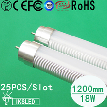 Free Shipping T8 1200mm 25pcs 4ft 18W  led tube 1600 lumens SMD2835 cool white  85-265V  foam packing 3 year warranty