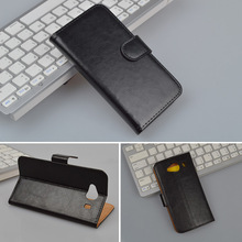 Crazy Horse PU Leather Case For ZTE Blade L370 Cover Wallet Stand Phone Bag with Card Slots 4 Colors