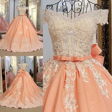 2017 Free Shipping Dubai Arabic Ball Gown Appliques Beaded Evening Dresses Long Orange Formal Prom Gowns robe de soiree longue