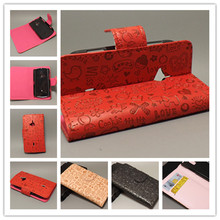 Magic Girl stand Leather Case with 2 Card Holder and pouch slot for Sony Ericsson Xperia Live Walkman WT19ifree shipping