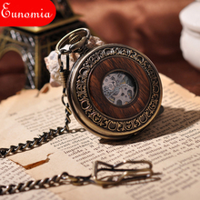 Wooden Mechanical Men Hand Wining Skeleton Pocket Watch With Key Chain Necklace Full Hunter Steampunk Vintage Antique Watch Sale