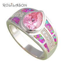 ROLILASO femme Pink Fire Opal  stamped Silver Ring for women USA Sz #6#7#7.5#8#9 Pink Cubic zirconia Fashion Jewelry OR660