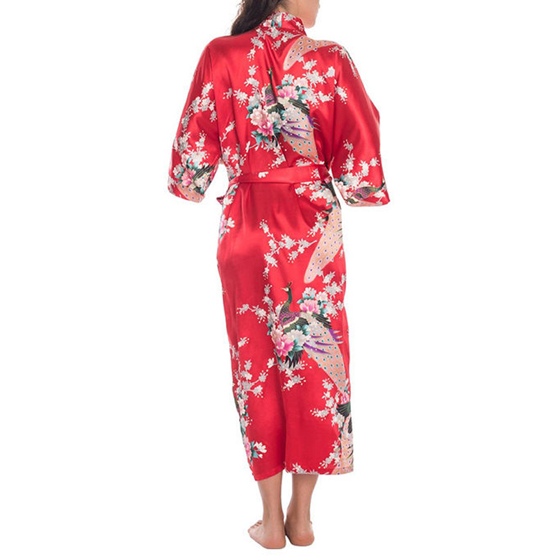 M-XXXL Woman Kimono Satin Silk Robe Lady Sexy Long Sleeve Nightgown Robes Nightdress Elegant Women Animal Printed Nightwear Gown