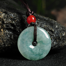 Yu Yixuan jewelry natural A cargo green floating flower Jade security buckle pendant male and female models have a certificate
