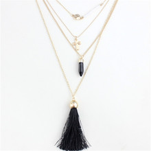 2016 free shipping accessories wholesale in Europe and America Black glass cross pendant with four layers tassel necklaces(China)
