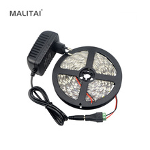 1Pack 5 Meters Single Color 300 LEDs / M SMD 5050 LED Strip light + DC Female Adapter + DC 12V 3A Power Supply Adapter