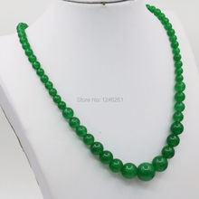 6-14mm Green Malay Chalcedony Necklace Chain Round Beads Women Fashion Jewelry Party Gifts Chalcedony 18inch Lucky Natural Stone(China)