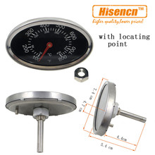 Hisencn 01T11 Outdoor Stainless Steel Barbecue Oven Replacement Thermometer Temp Gauge Oval Shaped BBQ Thermometer Controller(China)