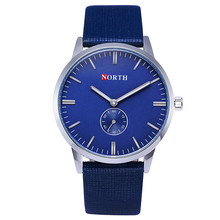 Luxury brand north Watch men's leather best waterproof Relogio Masculino Montre Homme Blue Casual Quartz Watch Men reloj hombre