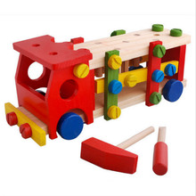 Building Toy Vehicles Wood Multifunction Removable Adjustable Truck Screws Car Model Toy for Children Kids Color EducationHT2914(China)