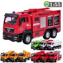 1:55 Sliding Alloy Car Truck Model Children Toys Fire Engine for Baby Chirstmas Birthday Gift Fire Truck Model Toys Cars