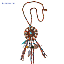 New personalized handmade jewellery supplier long fringe feather tassel pendents unique boho Bohemia ethnic long Necklaces(China)