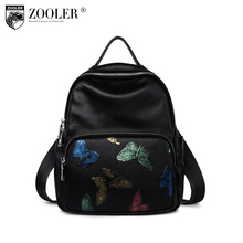 ZOOLER 2018 special cowhide bag embossing women leather backpack butterfly pattern bag school girl fashion stylish backpack#5203