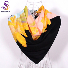 [BYSIFA] Winter Leopard Print Square Scarves Spring Autumn Daylily Women Men Yellow Large Silk Scarf Shawl Cachecois 90*90cm