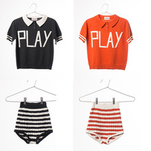 2017 Bobo choses Play Knitted Polo Red T shirt Tee top stripe Toweling Shirt bread pants Shorts children baby girl clothes boys