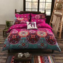 4PC Ethnic Folk National Style Bohemia Twin/Full/Queen/King Size Bed Quilt/Duvet/Doona Cover Set & Sheet Shams Rosy Green Circle
