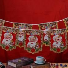 Cartoon Santa Claus Christmas Hanging Flags Noel Banner Paper Pennant Christmas Decorations Indoor Outdoor Home Decor