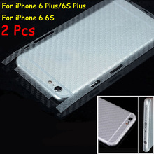 2 Pcs 3D Anti-fingerprint Full Cover Clear Carbon Fiber Back Screen Protector Film Wrap Skin Stickers For iPhone 6 6S Plus