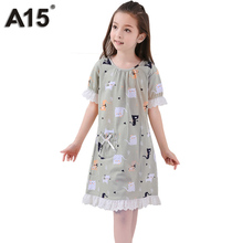 A15 Pijama Infantil Kids Summer 2017 Kids Clothes Girls Nightgown Sleepwear Gowns Children Pajamas Dress Teen 8 10 12 14 16 Year(China)