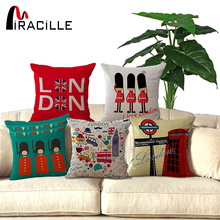 45x45cm UK London phone booth bus models linen cushions London for sofa car decorative almofadas cojines decorative pillows(China)