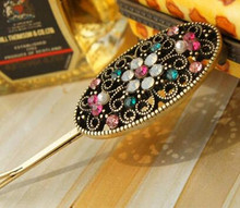 European and American jewelry retro color Fangzuan oval hollow flower hair clips wholesale CJWD96(China)