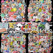100pcs x6 kinds Not repeating waterproof stickers for Wall decor skateboard motorcycle Bike refrigerator laptop car stickers