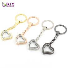 diylocket 10PCS Heart magnetic glass Memory locket DIY keychains floating charm locket 4 Colors for choose Zinc Alloy LSFK04*10