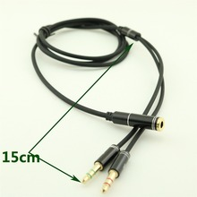 1pc 3.5mm Stereo Audio Male to 2x Female Headset Mic Y Splitter Cable Adapter 1m/3ft